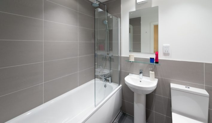 High-spec bathrooms are a standard feature of our 1-bedroom apartments at CQ The Gardens